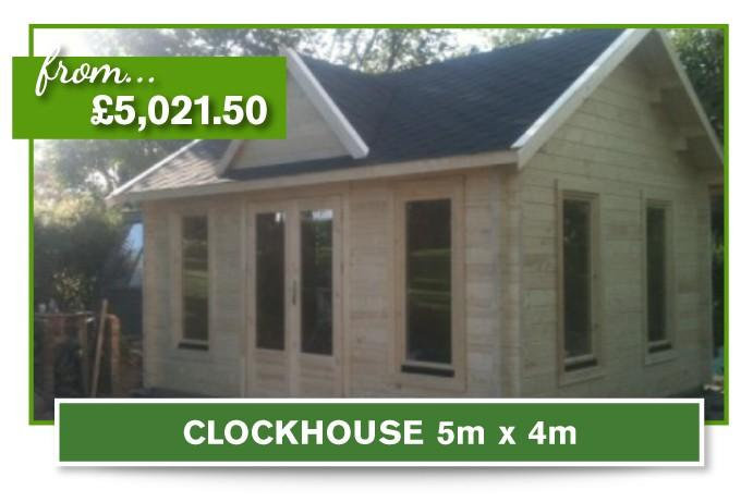 Clock House log cabin 5m x 4m
