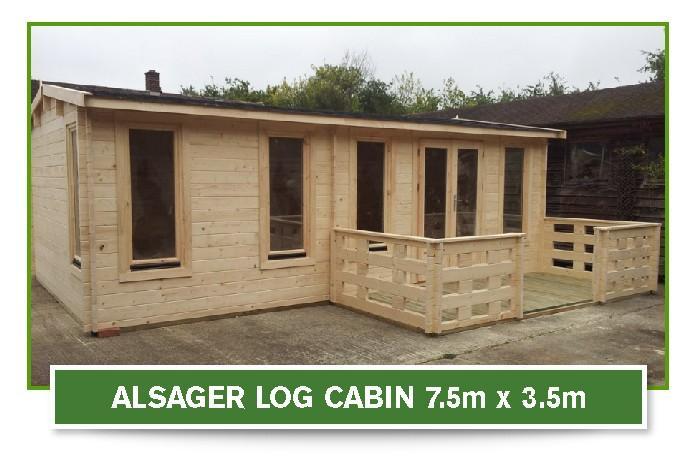 alsager log cabin 7.5m x 3.5m