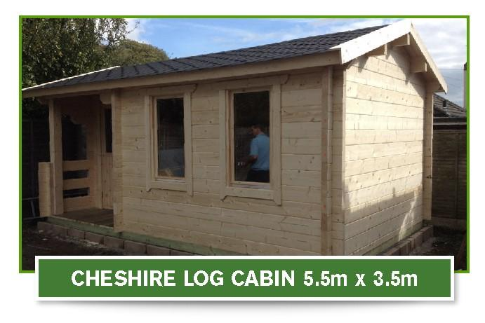 cheshire log cabin 5.5m x 3.5m