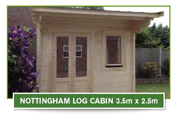 nottingham log cabin 3.5m x 2.5m