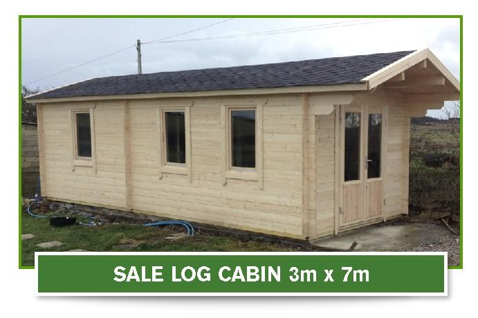 sale log cabin 3m x 7m