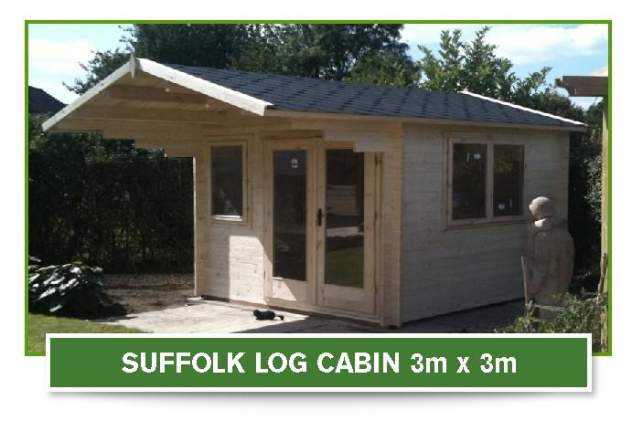 suffolk log cabin 3m x 3m