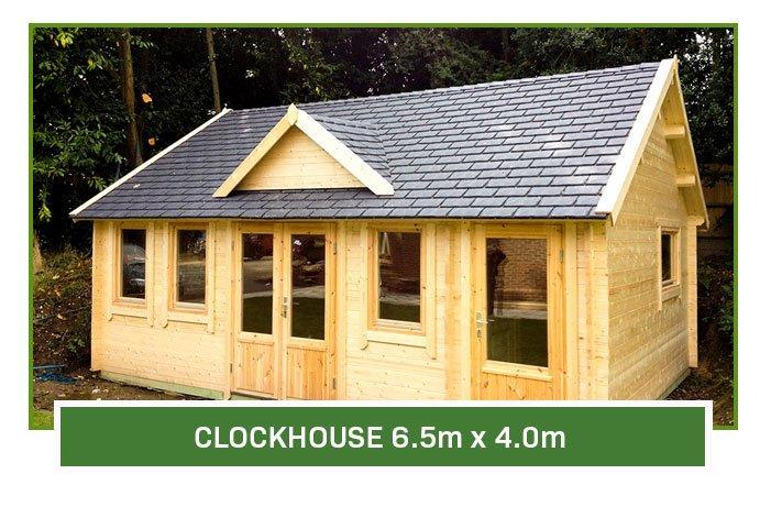 Clock House Log Cabin 6.5m x 4m