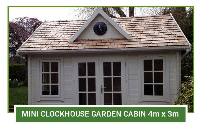 Mini Clock House Log Cabin